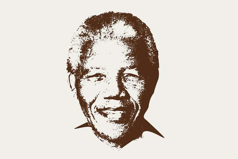 Illustrasjon av Nelson Mandela i eldre alder
